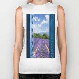 wooden shutters, lavender field Biker Tank