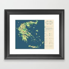 MAP OF GREECE Framed Art Print