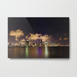 Downtown Miami Night Metal Print
