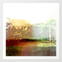 Abstract Urban Botanical, Modern Digital Photography Collage, Green, Minimal Landscape, Macro, Bokeh Art Print