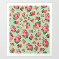 floral pattern Art Prints featuring FLORAL PATTERN by Allyson Johnson