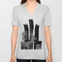 Black white grey abstract Unisex V-Neck