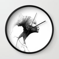 afro Wall Clocks featuring Afro by Vito Quintans