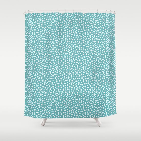 Aqua White Confetti Shower Curtain By Zen And Chic