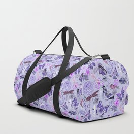 Dragonflies, Butterflies and Moths With Plants on Pastel Purple Duffle Bag