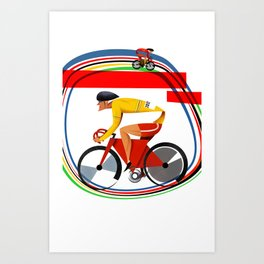 track racer cyclist Art Print