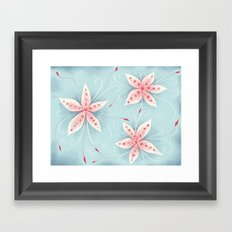 Beautiful Abstract Flowers In Red And White Framed Art Print