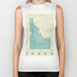 Idaho State Map Blue Vintage Biker Tank