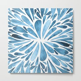 Symmetrical drops - blue Metal Print
