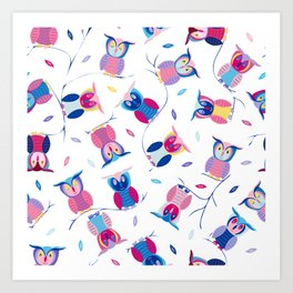 Who loves Owls? Cute & colorful owls Art Print