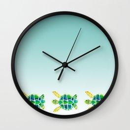 Swimming Baby Sea Turtles Wall Clock