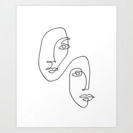 One Line Art Faces Sketch Art Print