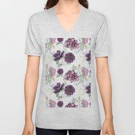 Succulents Deep Violet Lavender Pastel Green Lilac PatternSee Nature Magick for more pretty pastel c Unisex V-Neck