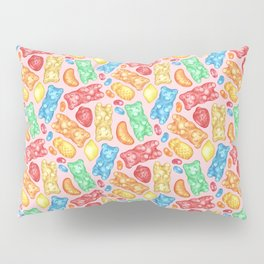 Gummies Galore - A happy array of rainbow of hand-drawn fruity flavored gummies and jelly beans Pillow Sham