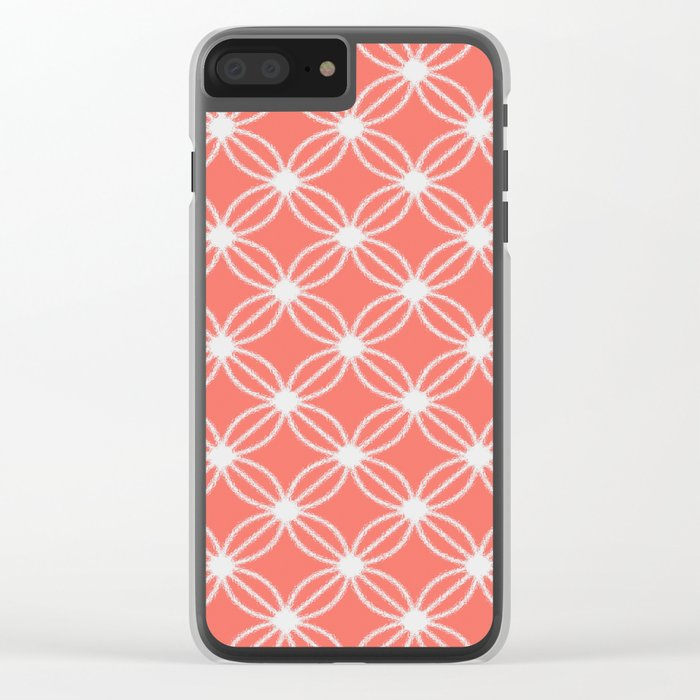 Abstract Circle Dots Peach II Clear iPhone Case