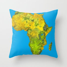 African Continent Topographical Relief Map Throw Pillow