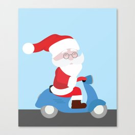 Santa Claus coming to you on his Scooter Canvas Print