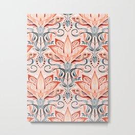 Coral and Grey Watercolor Art Nouveau Aloe Metal Print