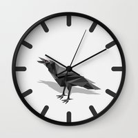 raven Wall Clocks featuring Raven  by mailboxdisco