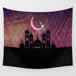 Purple & Gold Arabian Nights Half Moon Wall Tapestry