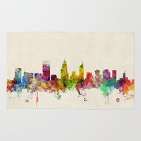 pittsburgh Area & Throw Rugs featuring Pittsburgh Pennsylvania Skyline by artPause