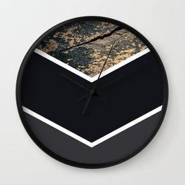 Scandinavian Gold Concrete Black Gray Geometric Pattern Wall Clock