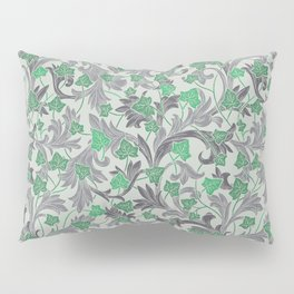 Green ivy with grey ornament on beige background Pillow Sham