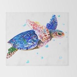 Sea Turtle, blue rainbow Throw Blanket