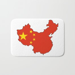 China Map with Chinese Flag Bath Mat