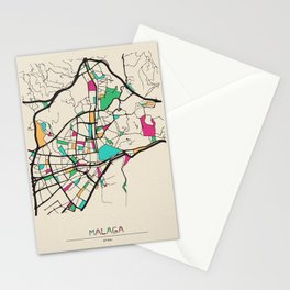 Colorful City Maps: Malaga, Spain Stationery Cards