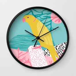 Bird Brain - wacka designs abstract minimal memphis design retro throwback 1980s 80s illustration Wall Clock