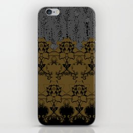 Damask Texture Border in Browns and Black iPhone Skin