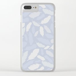 Feather Pattern Light Blue Clear iPhone Case