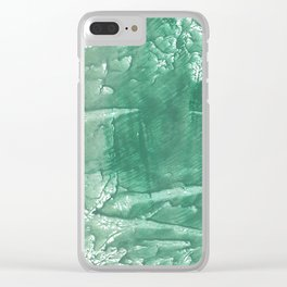 Dark sea green hand-drawn wash drawing Clear iPhone Case