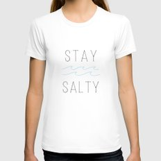 Stay Salty Womens Fitted Tee White SMALL