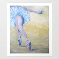 degas Art Prints featuring Inspired by Degas - Ballerina in Flight by Sebastian Alappat