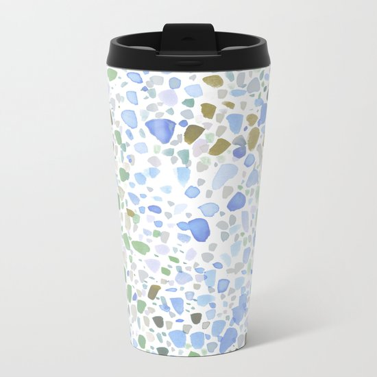 Magic Terrazzo Blue Metal Travel Mug