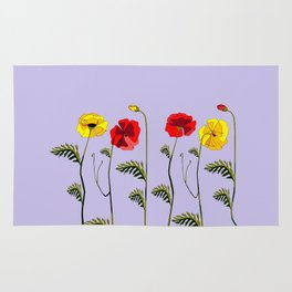 A Garden of Red and Yellow Poppies Rug