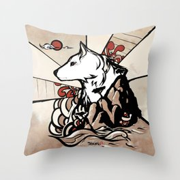 Wolf Ukiyo-e Throw Pillow