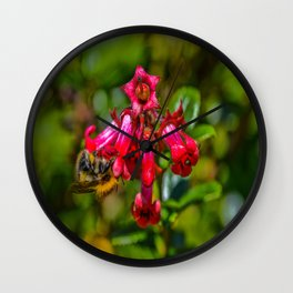 Bee on Red flowers Wall Clock