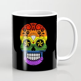 Gay Pride Rainbow Flag Sugar Skull with Roses Coffee Mug