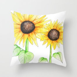 Sunflower Watercolor & ink Throw Pillow