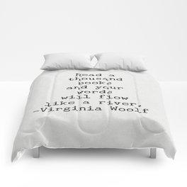 Virginia Woolf Quote Art Comforters