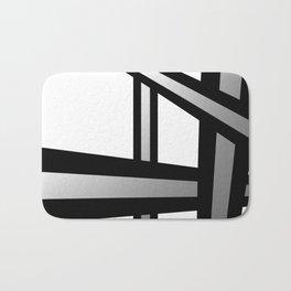 Bold Metallic Beams - Minimalistic, abstract black and white artwork Bath Mat