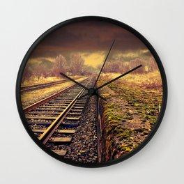 Train rails in warm tones Wall Clock
