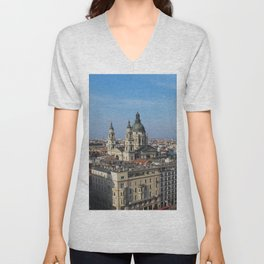 Panoramic view of Budapest and St. Stephen Basilica in Hungary Unisex V-Neck