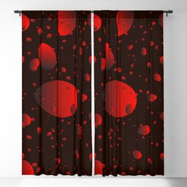 Large red drops and petals on a dark background in nacre. Blackout Curtain