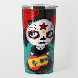 Day of the Dead Girl Playing Spanish Flag Guitar Travel Mug