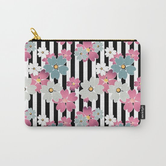 The floral pattern on striped background. Carry-All Pouch