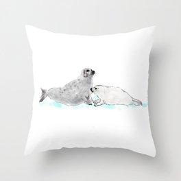 Harp Seals on the Ice Throw Pillow